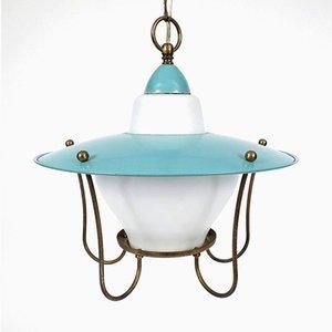 Lámpara colgante de opalina y latón, años 50