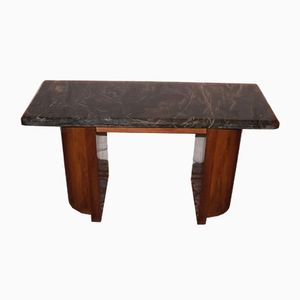 Art Deco Walnut & Marble Console Table, 1920s