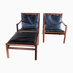 2 Rosewood Armchairs & 1 Footrest by Jorgen Nilsson for J.H. Johanssens, 1960s