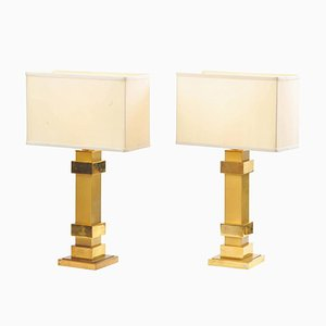 Brass Angular Table Lamps by Maison Charles, 1970s, Set of 2
