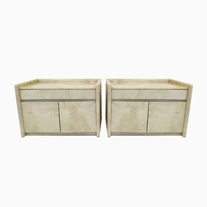 Lacquered Parchment Bedside Tables, 1980s, Set of 2