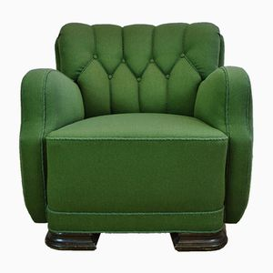 French Art Deco Club Chair in Green Wool, 1930s