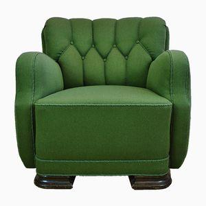 Sillón Club francés Art Déco de lana verde, años 30