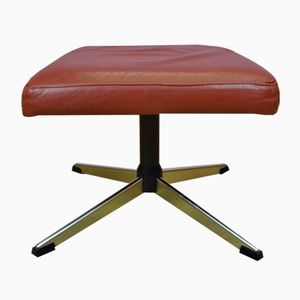 Red Leather Swivel Footstool or Ottoman, 1970s