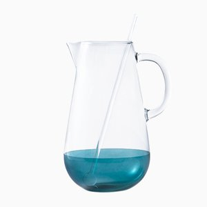 Blaue mundgeblasene Limonata Glaskaraffe mit Mixstab von Cristina Celestino für Paola C.