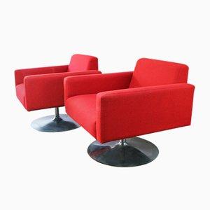Mid-Century Red Danish Swivel Armchairs, 1970s, Set of 2