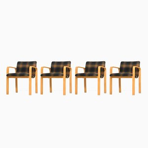 Armchairs in Birch Plywood, 1950s, Set of 4