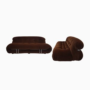 Soriana Sofa & Lounge Chair Set by Tobia & Afra Scarpa for Cassina, 1970s