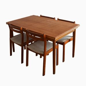 Mid-Century Teak Dining Room Set with Extendable Table
