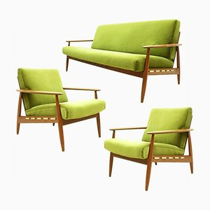 Danish Teak & Velvet Fabric Seating Set, 1960s