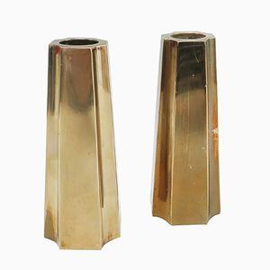 Candelabros de latón de Sigvar Bernadotte para Bernadotte Design. Juego de 2