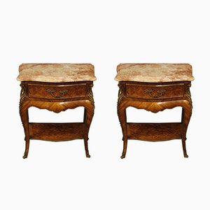 Vintage French Bedside Tables with Marble Tops, 1950s, Set of 2