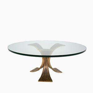 Mesa de centro circular de latón y vidrio, años 60