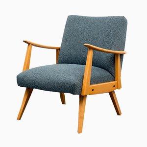 Beech & Textile Lounge Chair, 1950s