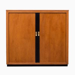Industrial Oak Cabinet with Sliding Doors, 1950s