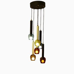 Italian Six-Tiered Colored-Glass Chandelier, 1960s