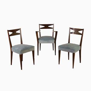 Mahogany & Velvet Side Chairs, 1950s, Set of 3