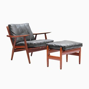 GE-270 Teak Lounge Chair & Ottoman by Hans J. Wegner for Getama, 1960s
