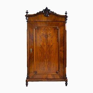 One-Door Louis Philippe Style Wardrobe in Walnut Veneer, 1860s