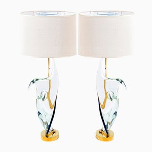 Mid-Century Table Lamps in Murano Glass & Brass from Cenedese, Set of 2