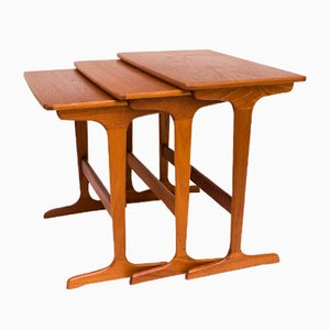 Vintage Danish Teak Veneered Nesting Tables from Niels Bach Møbelfabrik