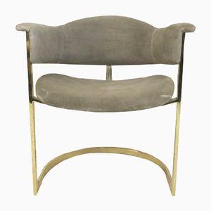 Silla de escritorio de metal dorado y alcantara, años 70