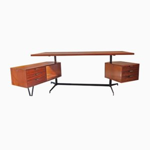 Mahogany Desk by Osvaldo Borsani for Tecno, 1956