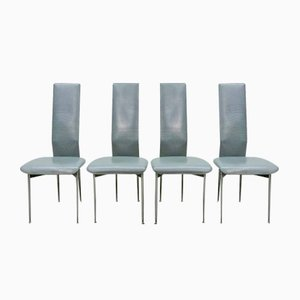 Leather Dining Chairs by Giancarlo Vegni & Gianfranco Gualtierotti for Fasem, 1980s, Set of 4