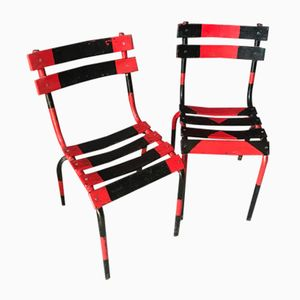 Vintage Red & Black Bistro Chairs from Luxembourg, Set of 2