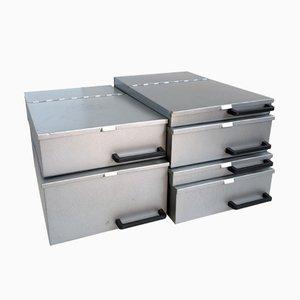 Vintage Industrial Metal Boxes, 1970s, Set of 6