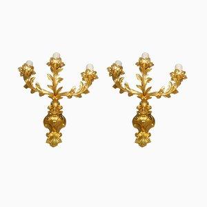 Lámparas de pared Napoleon III antiguas de bronce dorado. Juego de 2