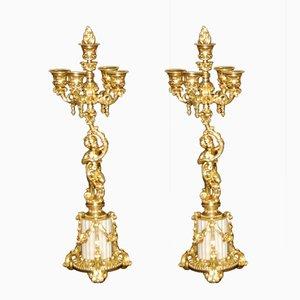 Antike Kerzenständer aus vergoldeter Bronze, 2er Set