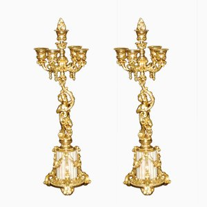 Antique Gilt Bronze Candleholders, Set of 2