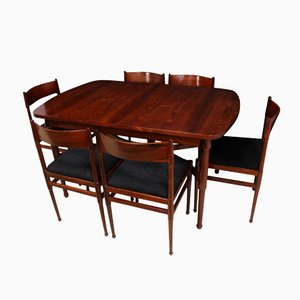 Mid-Century Italian Rosewood Dining Table & Chairs Set