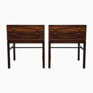 Mid-Century Swedish Rosewood Casino Nightstands by Svend Engstrom & Gunnar Mystrand for Tingstroms, Set of 2