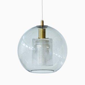 Lampe à Suspension en Verre & Laiton par Carl Fagerlund pour Orrefors, 1960s