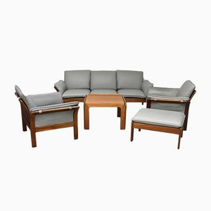 Rosewood & Leather Living Room Set, 1970s