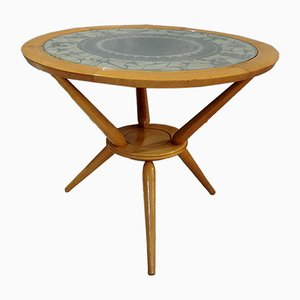 Round Coffee Table in Wood with Zodiac Glass Top, 1950s