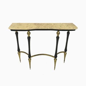 Vintage Italian Ebonised Wood and Brass Console Table