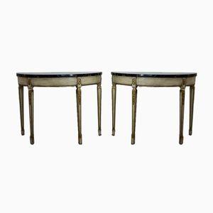 Mesas consola vintage con superficies de mármol. Juego de 2