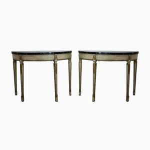 Vintage Console Tables with Marble Tops, Set of 2