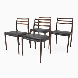 Mid-Century Model 78 Rosewood Dining Chairs from J.L. Møllers Møbelfabrik, Set of 4