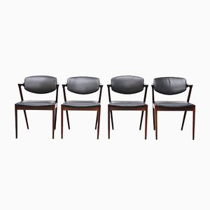 Model 42 Black Leather Chairs by Kai Kristiansen for SVA Møbler, 1950s, Set of 4