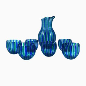 Murano Glass Carafe Set by Gio Ponti for Venini, 1950s