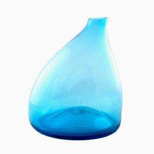 Jarrón italiano de vidrio soplado azul claro, años 70