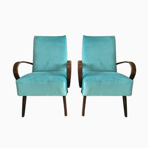 Vintage Art Deco Bentwood Lounge Chairs from Dakon, Set of 2