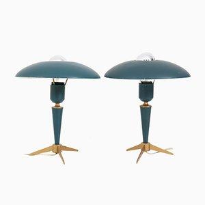 Dreibein Schreibtischlampem von Louis Kalff für Philips, 1950er, 2er Set