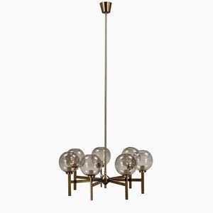 Lámpara de araña de latón con siete brazos de Westal, años 60