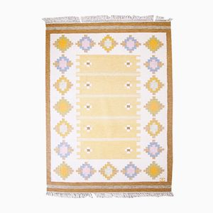 Handgearbeiteter schwedischer Mid-Century Rölakan Flachgewebe Teppich von Elsa Ekholm, 1960er