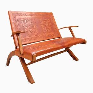 Sofá plegable vintage de cuero de Angel I. Pazmino para Muebles de Estilo, años 60